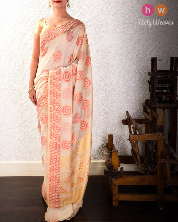Beige-Red Cutwork Brocade Woven Cotton Silk Saree- HolyWeaves