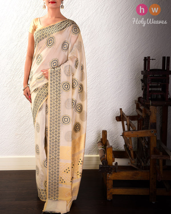 Beige-Black Cutwork Brocade Woven Cotton Silk Saree- HolyWeaves