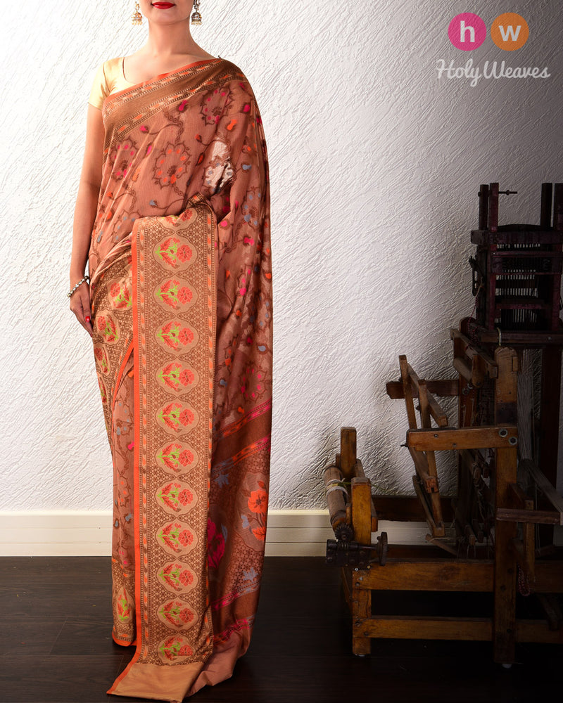 Brown Meenedar Floral Jaal Cutwork Brocade Woven Cotton Silk Saree- HolyWeaves