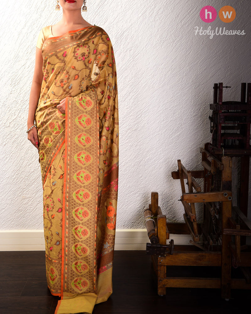 Beige Meenedar Floral Jaal Cutwork Brocade Woven Cotton Silk Saree- HolyWeaves