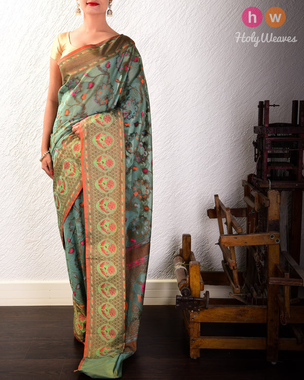 Teal Blue Meenedar Floral Jaal Cutwork Brocade Woven Cotton Silk Saree- HolyWeaves