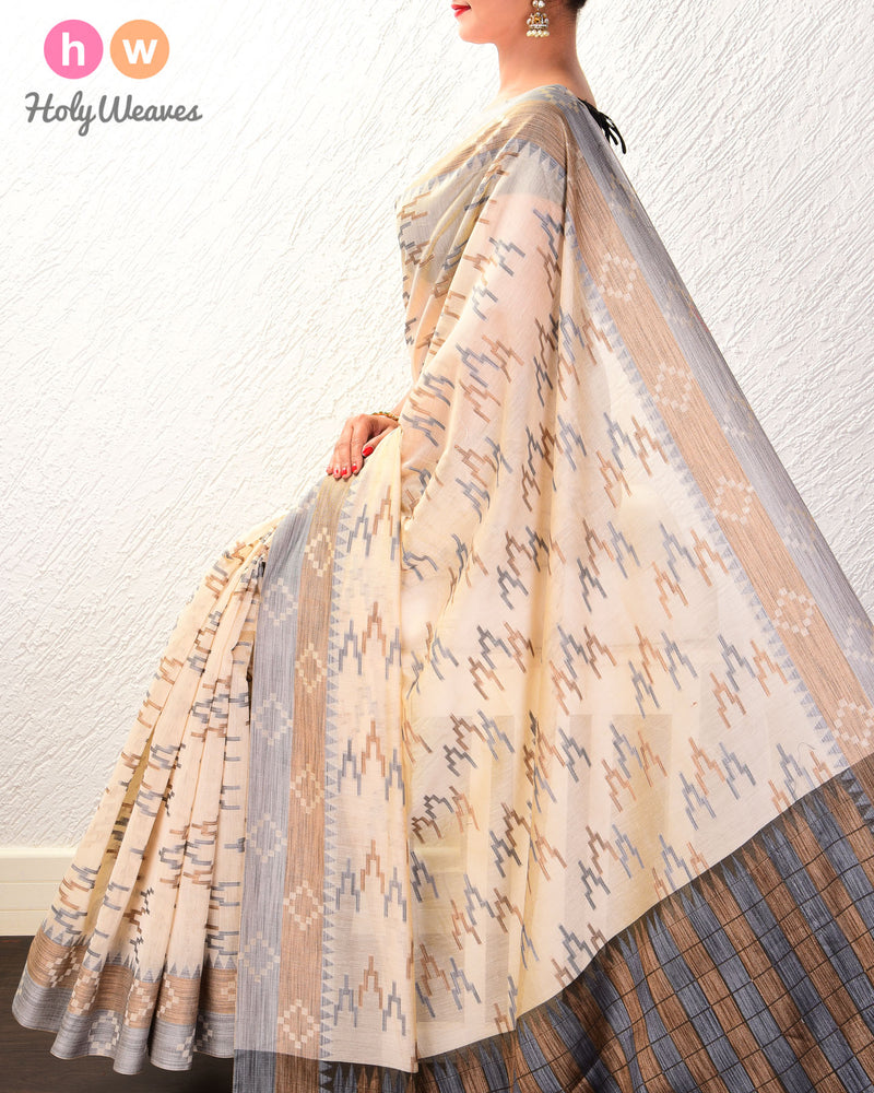 Almond White High-Rise Cutwork Brocade Woven Cotton Silk Saree - HolyWeaves