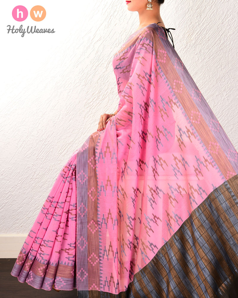 Pink High-Rise Cutwork Brocade Woven Cotton Silk Saree - HolyWeaves