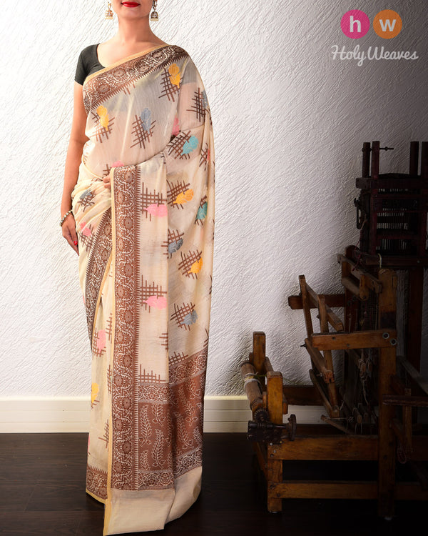 Almond White Gulab Aur Jali Cutwork Brocade Woven Cotton Silk Saree- HolyWeaves