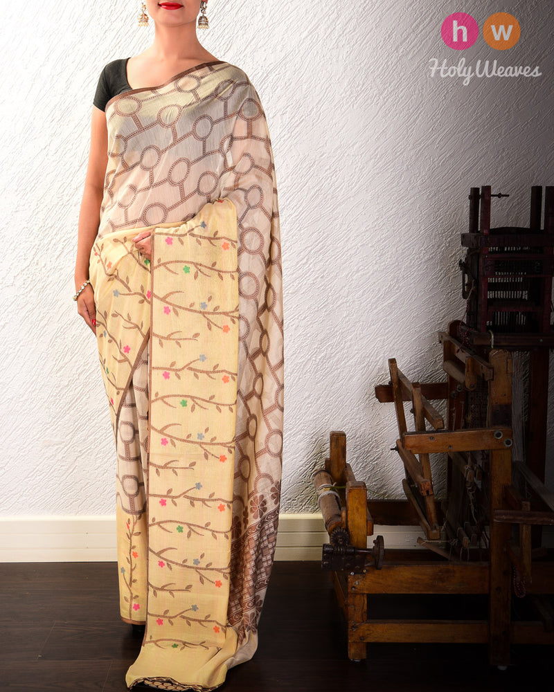 Beige Cutwork Brocade Woven Cotton Silk Saree with Meenedar Tissue Border - HolyWeaves