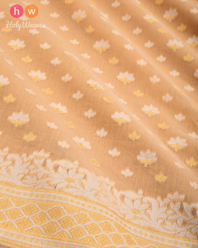 Beige Alfi Mogra Buti Cutwork Brocade Woven Cotton Silk Saree - HolyWeaves