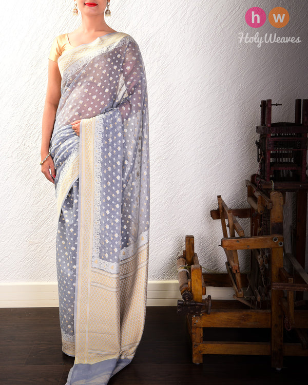 Gray Alfi Mogra Buti Cutwork Brocade Woven Cotton Silk Saree- HolyWeaves