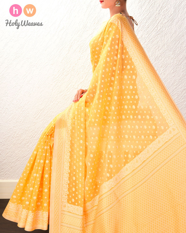 Golden Yellow Alfi Mogra Buti Cutwork Brocade Woven Cotton Silk Saree- HolyWeaves