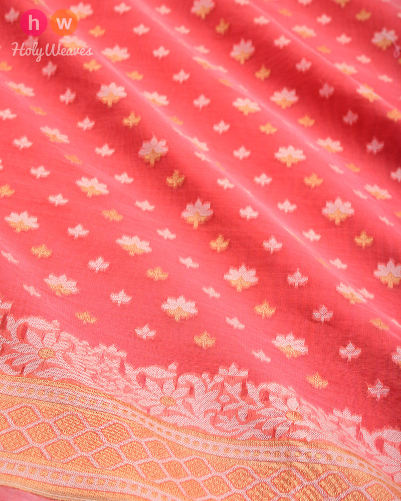 Peach Alfi Mogra Buti Cutwork Brocade Woven Cotton Silk Saree - HolyWeaves