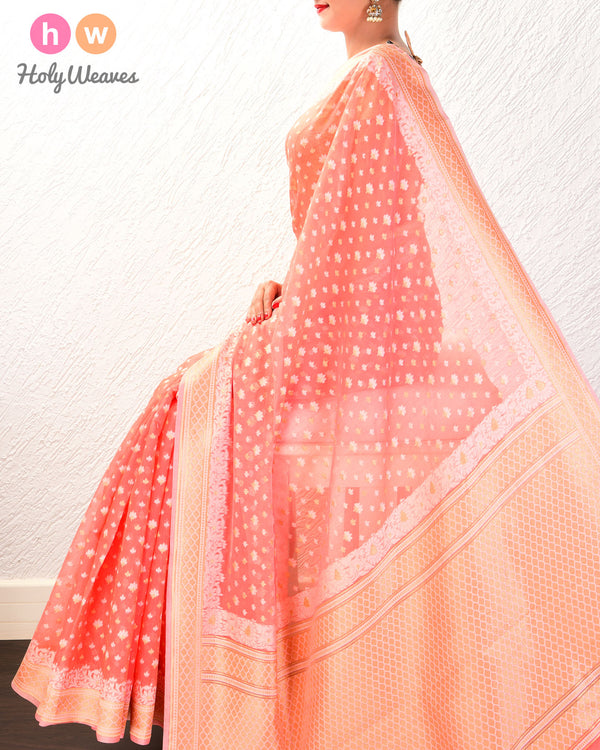 Peach Alfi Mogra Buti Cutwork Brocade Woven Cotton Silk Saree- HolyWeaves