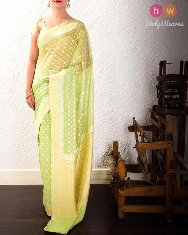 Green Alfi Mogra Buti Cutwork Brocade Woven Cotton Silk Saree - HolyWeaves