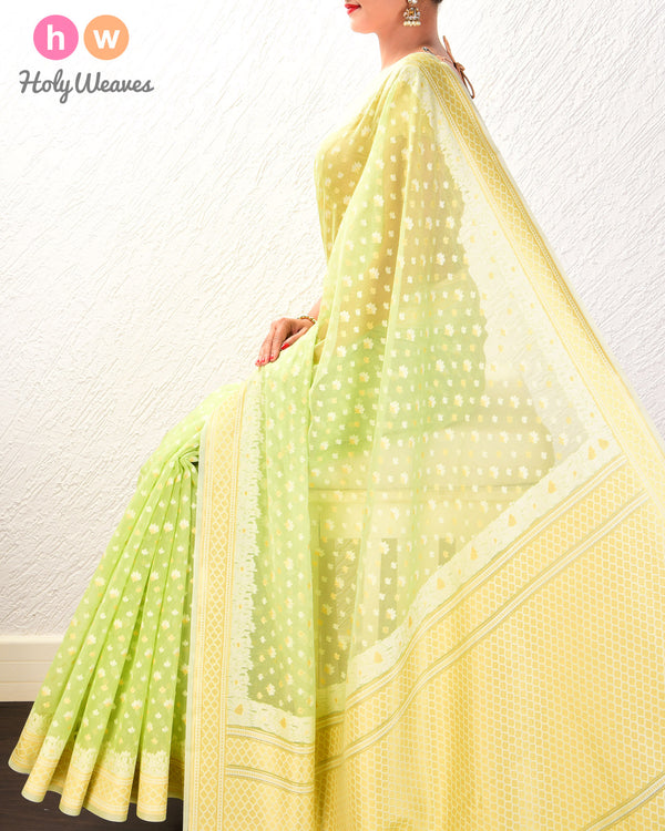 Green Alfi Mogra Buti Cutwork Brocade Woven Cotton Silk Saree- HolyWeaves