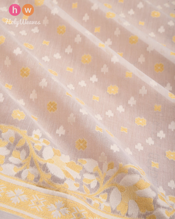Cream Leheriya Buti Cutwork Brocade Woven Cotton Silk Saree- HolyWeaves