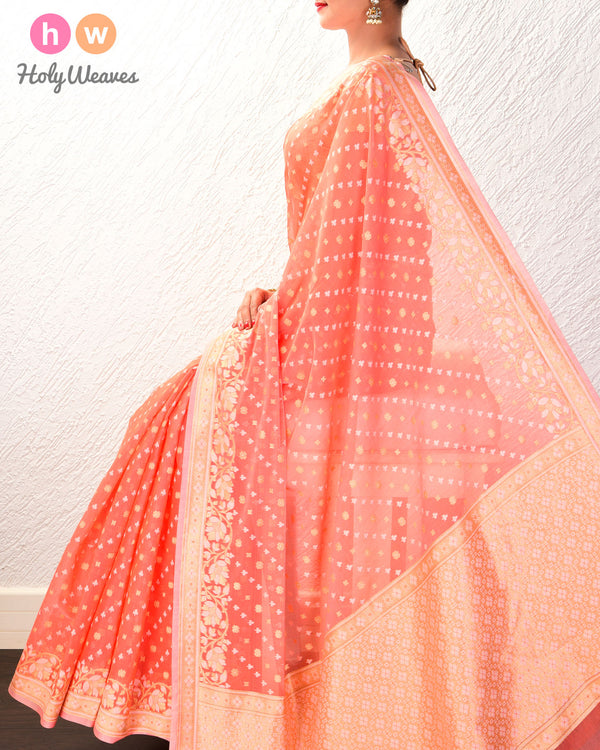 Peach Leheriya Buti Cutwork Brocade Woven Cotton Silk Saree- HolyWeaves