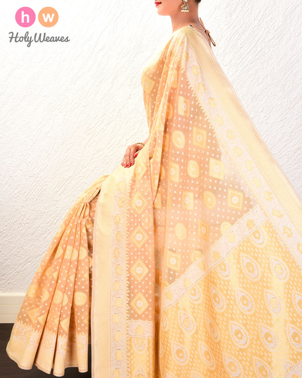 Beige Cutwork Brocade Woven Cotton Silk Saree- HolyWeaves