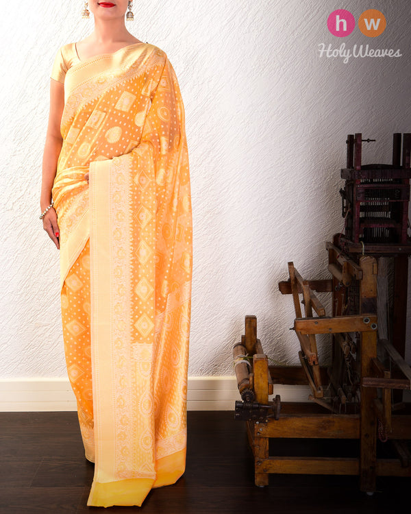 Golden Yellow Cutwork Brocade Woven Cotton Silk Saree- HolyWeaves