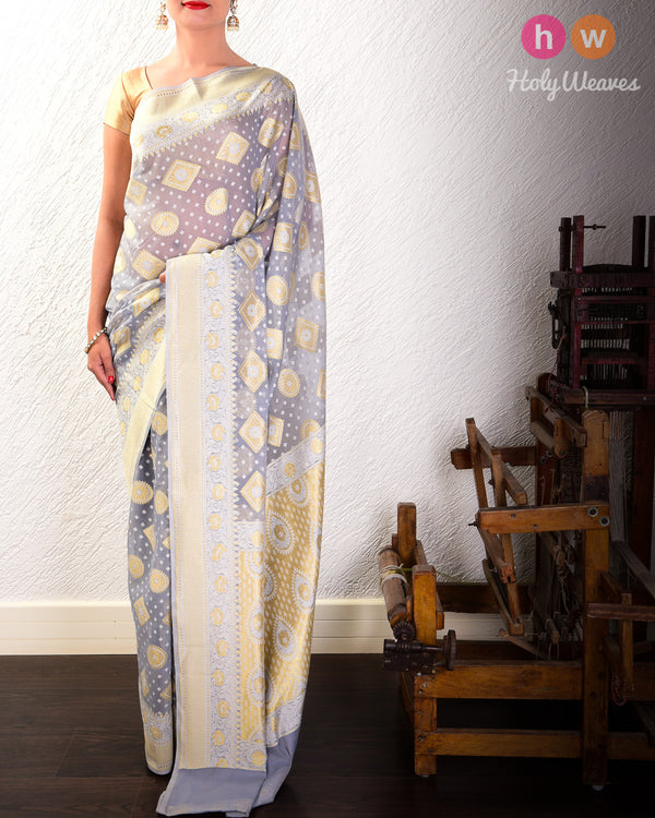 Gray Cutwork Brocade Woven Cotton Silk Saree- HolyWeaves