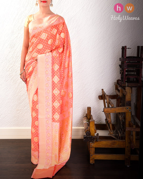 Peach Cutwork Brocade Woven Cotton Silk Saree- HolyWeaves