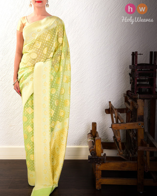 Green Cutwork Brocade Woven Cotton Silk Saree- HolyWeaves
