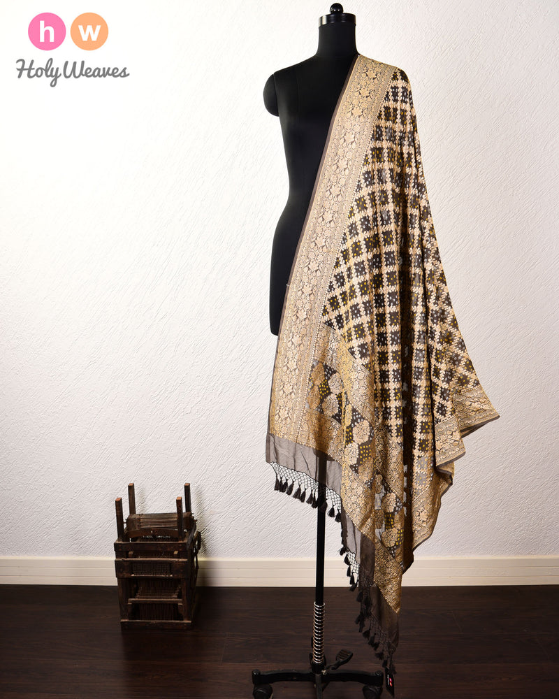 Black Olive Banarasi Cutwork Brocade Handwoven Khaddi Georgette Dupatta with 2-color Bandhej - HolyWeaves