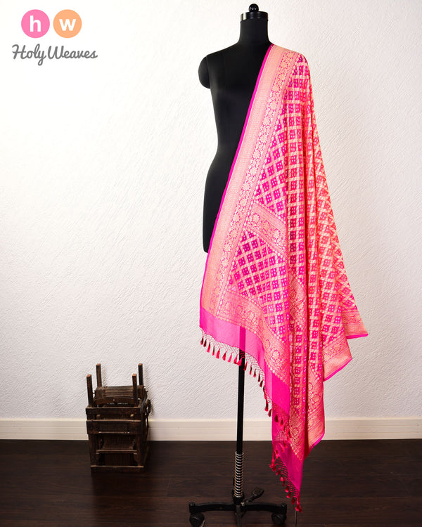 Pink-Orange Banarasi Cutwork Brocade Handwoven Khaddi Georgette Dupatta with 2-color Bandhej