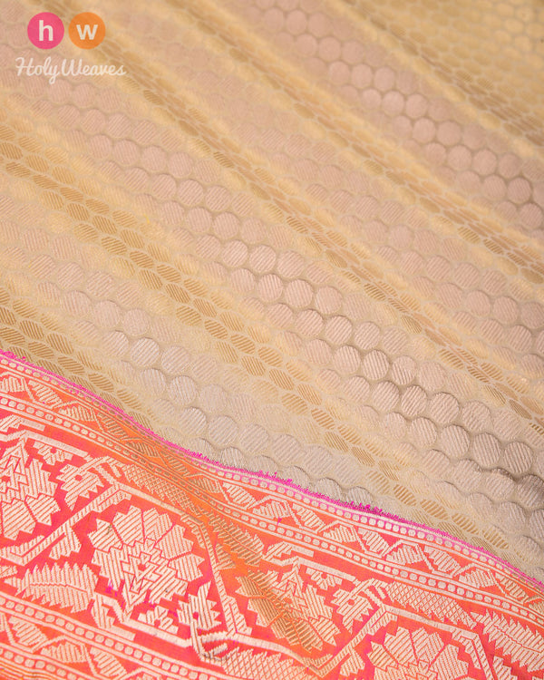 Golden Beige Banarasi Zari Polka Brocade Handwoven Katan Silk Saree with Peach Border Pallu- HolyWeaves