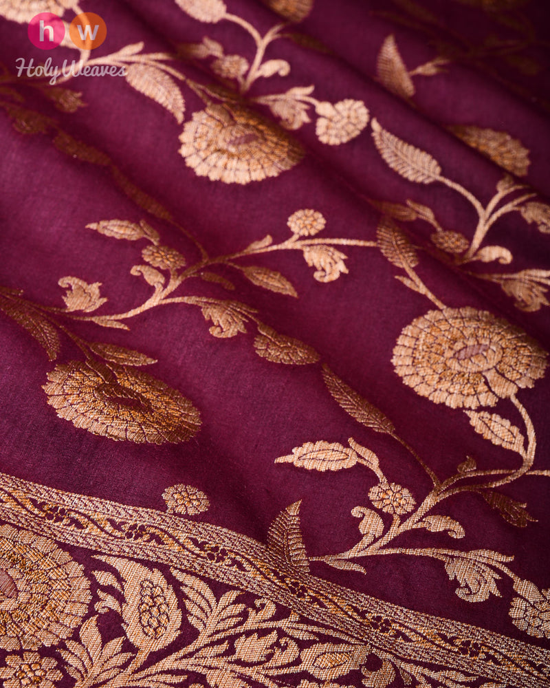 Phalsa Banarasi Antique Zari Cutwork Brocade Handwoven Muga Silk Saree