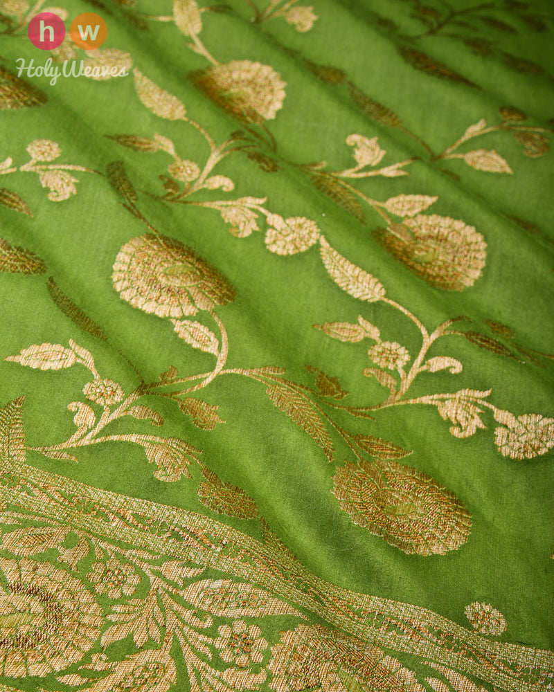 Sage Green Banarasi Antique Zari Cutwork Brocade Handwoven Muga Silk Saree
