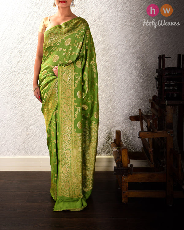Sage Green Banarasi Antique Zari Cutwork Brocade Handwoven Muga Silk Saree - HolyWeaves