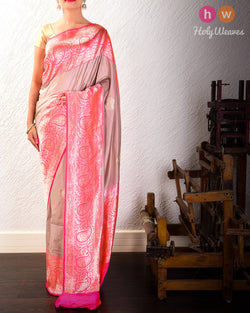 Rosy Brown Banarasi Kadhuan Brocade Handwoven Katan Silk Saree with Peach Kadiyal Brocade Border- HolyWeaves