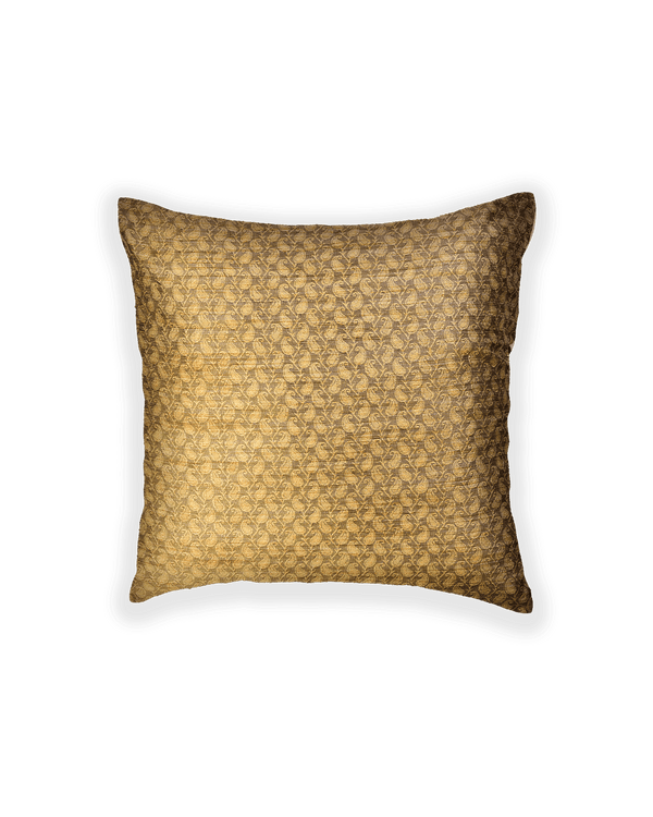 Beige Banarasi Tanchoi Poly Cotton Cushion Cover 16""