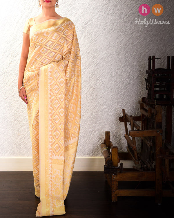 Beige Jangla Buti Cutwork Brocade Woven Cotton Silk Saree- HolyWeaves