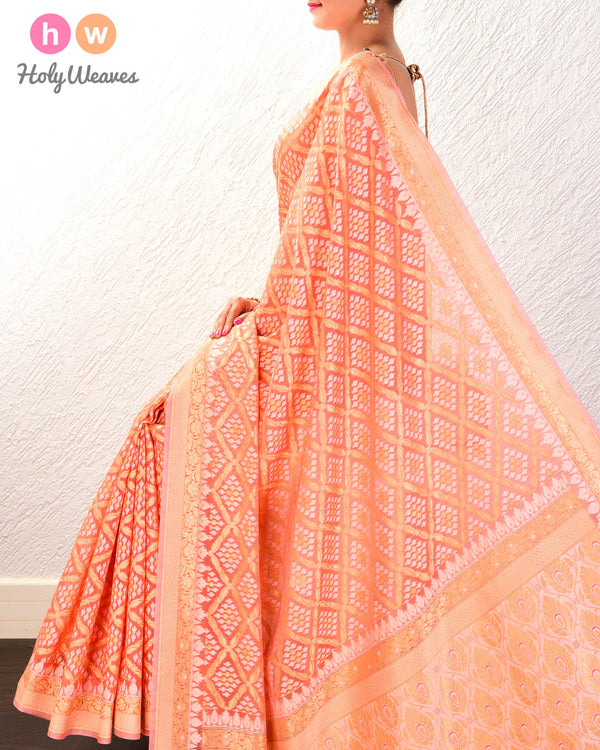 Salmon Pink Jangla Buti Cutwork Brocade Woven Cotton Silk Saree- HolyWeaves