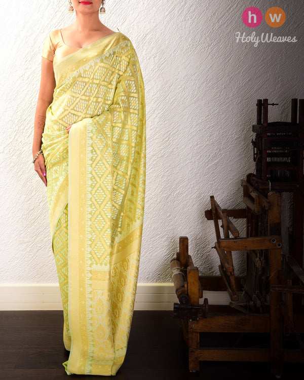 Green Jangla Buti Cutwork Brocade Woven Cotton Silk Saree - HolyWeaves