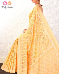 Yellow Jangla Buti Cutwork Brocade Woven Cotton Silk Saree- HolyWeaves