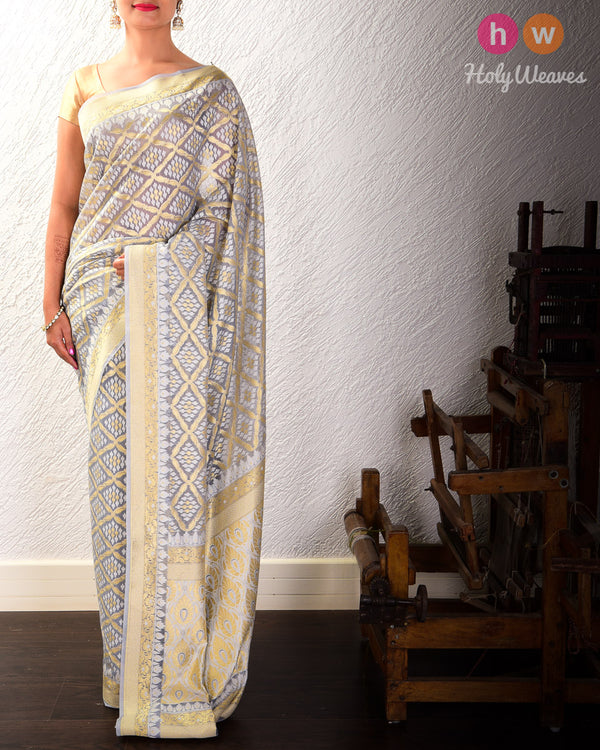 Gray Jangla Buti Cutwork Brocade Woven Cotton Silk Saree- HolyWeaves