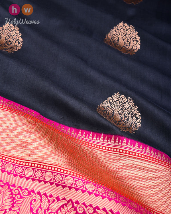 Gunmetal Gray Banarasi Kadhuan Brocade Handwoven Katan Silk Saree with Kadiyal Brocade Border- HolyWeaves