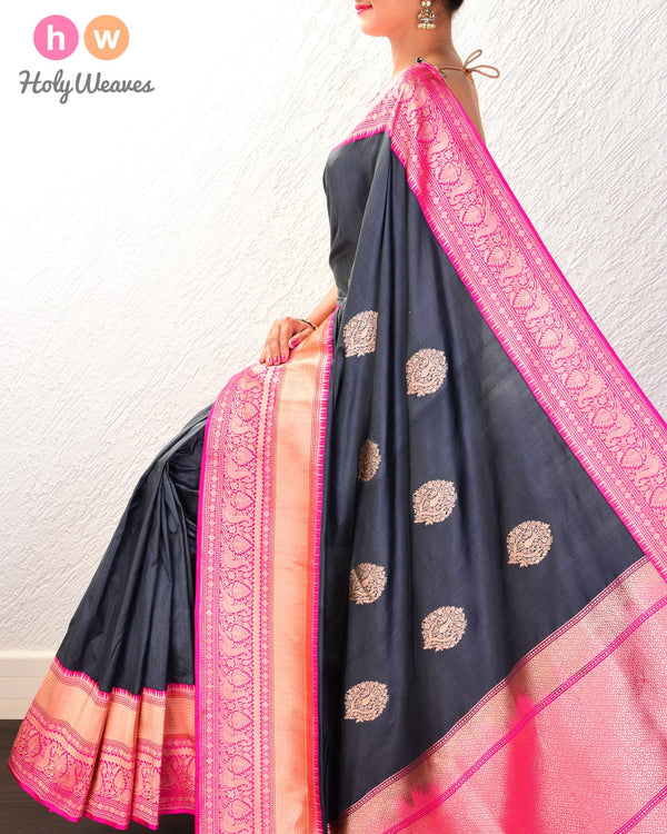 Gunmetal Gray Banarasi Kadhuan Brocade Handwoven Katan Silk Saree with Kadiyal Brocade Border - HolyWeaves