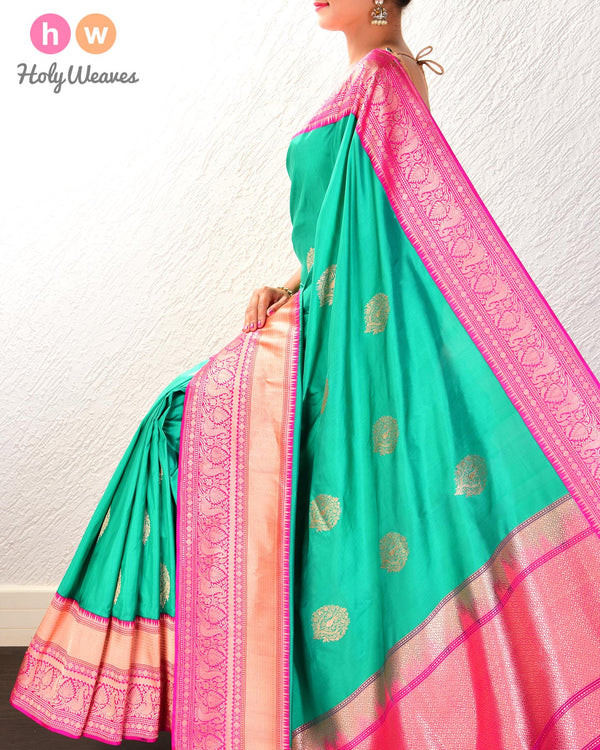Shamrock Green Banarasi Kadhuan Brocade Handwoven Katan Silk Saree with Kadiyal Brocade Border- HolyWeaves