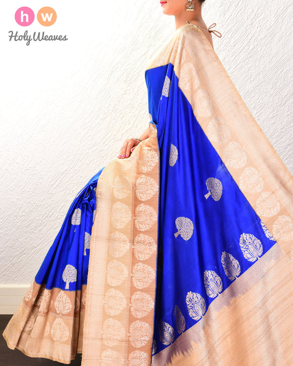 Royal Blue Banarasi Kadhuan Brocade Handwoven Katan Silk Saree with Kadiyal Tasar Border- HolyWeaves