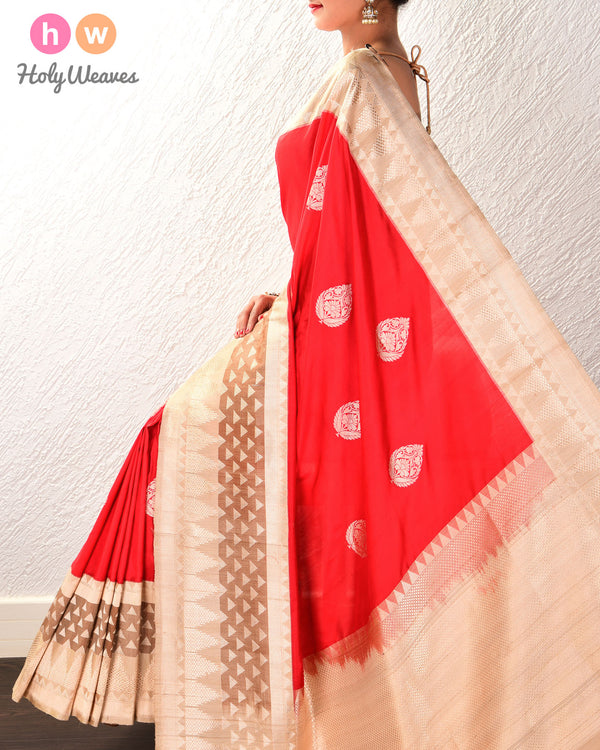 Red Banarasi Kadhuan Brocade Handwoven Katan Silk Saree with Tasar Kadiyal Border Pallu