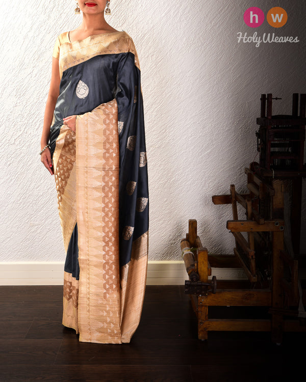 Gunmetal Gray Banarasi Kadhuan Brocade Handwoven Katan Silk Saree with Tasar Kadiyal Border Pallu - HolyWeaves