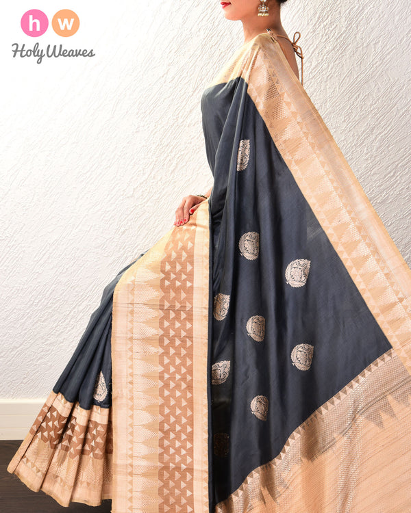 Gunmetal Gray Banarasi Kadhuan Brocade Handwoven Katan Silk Saree with Tasar Kadiyal Border Pallu