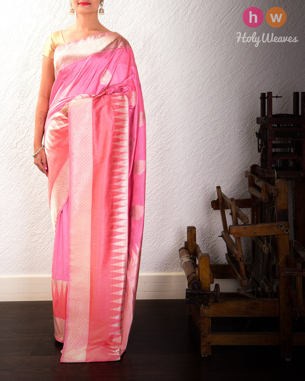Tuscany Peach Banarasi Kadhuan Brocade Handwoven Katan Silk Saree with Tanchoi Brocade Border - HolyWeaves