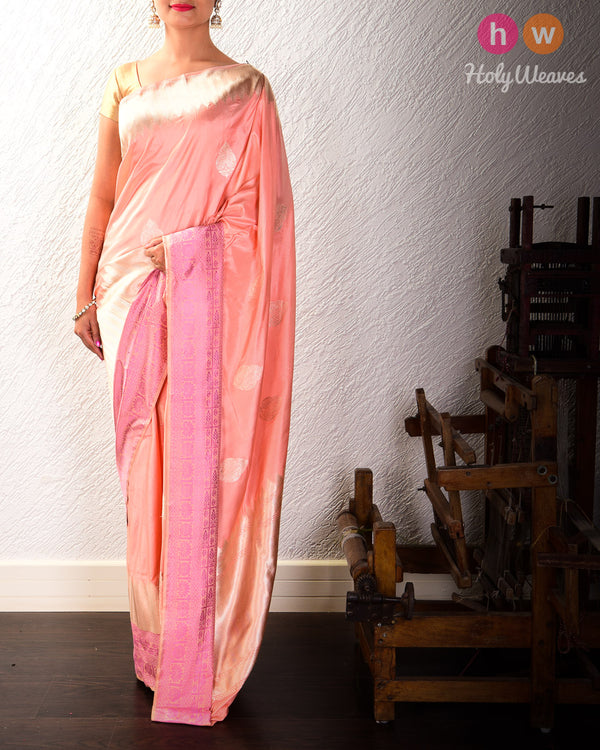 Apricot Peach Banarasi Kadhuan Brocade Handwoven Katan Silk Saree with Tanchoi Brocade Border- HolyWeaves