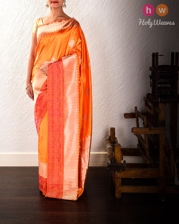 Orange Banarasi Buta Kadhuan Brocade Handwoven Katan Silk Saree with Tanchoi Brocade Border - HolyWeaves