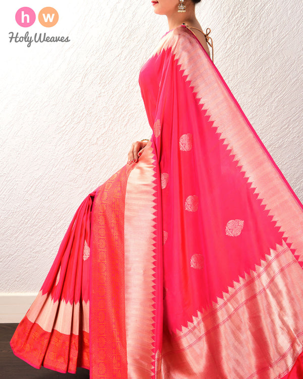 Ruby Pink Banarasi Buta Kadhuan Brocade Handwoven Katan Silk Saree with Tanchoi Brocade Border