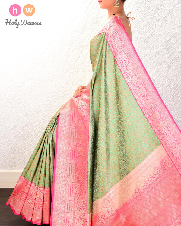 Caribbean Green Banarasi Kadhuan Brocade Handwoven Katan Silk Saree with Antique Jaal- HolyWeaves
