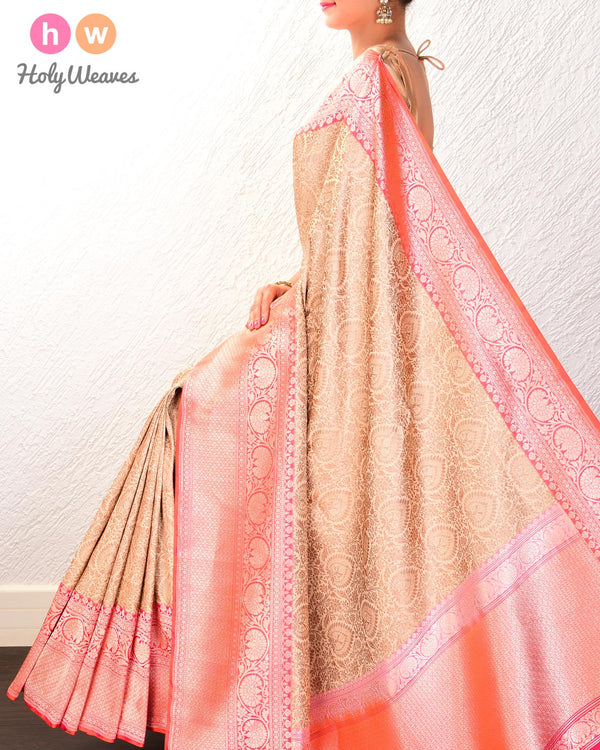 Beige Banarasi Kadhuan Brocade Handwoven Katan Silk Saree with Antique Jaal- HolyWeaves