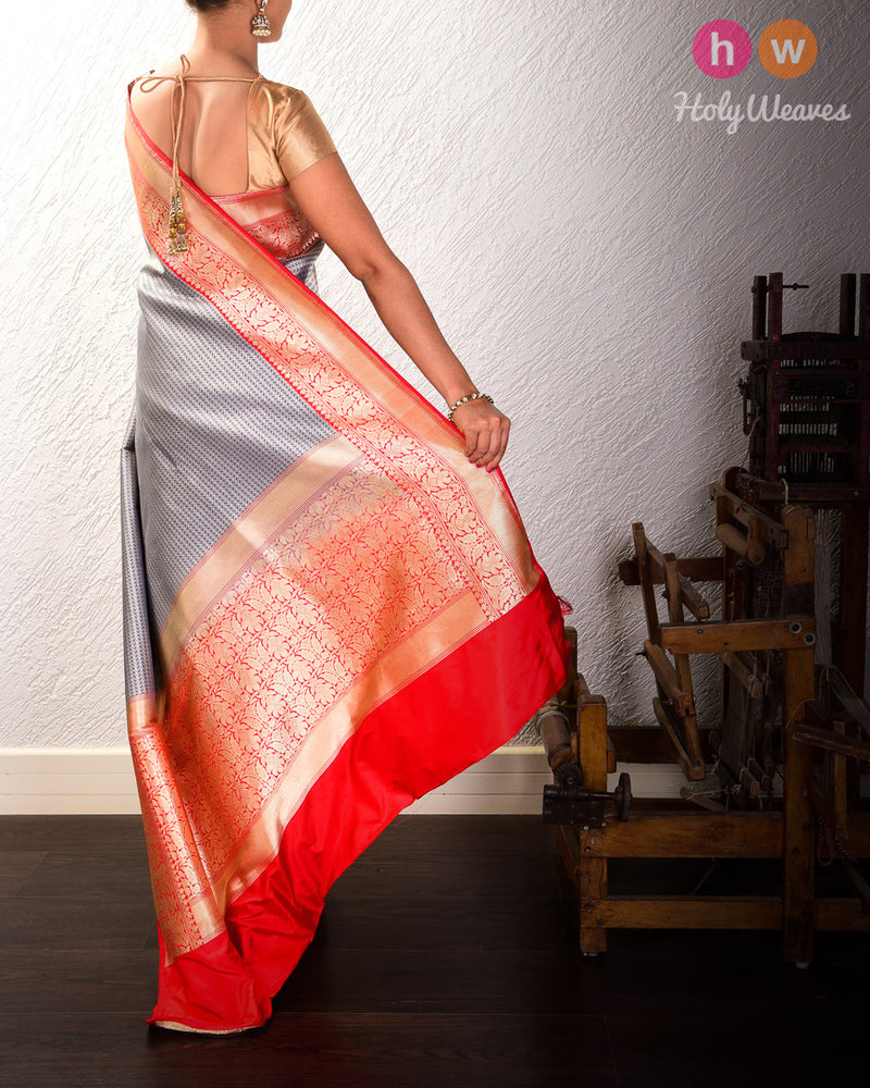 Slate Gray Banarasi Kadhuan Brocade Handwoven Katan Silk Saree with Geometric Waves - HolyWeaves
